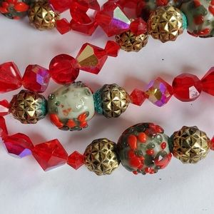 Vintage Aurora Crystal Murano Glass Bead Necklace
